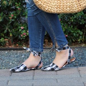 Park Lane Gingham Ankle Tie Flats